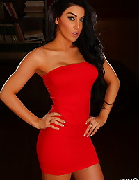 Beautiful Alluring Vixen tease Danielle shows off her perfect body in a tight red dress