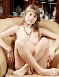 Nice-looking honey stripping sexy dress and showing depraved hairy pussy on the armchair.