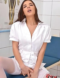 Sexy Russian Nurse Henessy Squeezes Her Horny Juicy Crotch