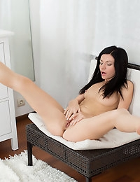 Skinny Nubile with tiny tits crams a giant dildo into her pussy