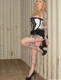 Gorgeous Blonde Tattooed Pinup Girl Hollie Hatton Strips
