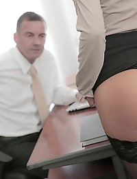 As much as he normally tries to suppress the pangs of lust he feels for his co-worker Alexis Brill, today Viktor couldn't ignore the throbbing hard-on she was giving him. It didn't help matters that Alexis was doing everything she could to seduce him, running a finger over her lips and giving him a good long look up her skirt as she sashayed around the office. When she finally grabbed him by the neck-tie and pulled him in for a long, deep kiss, it was the culmination of weeks of stifled erotic desire. Viktor's passion swelled as he bent Alexis over the desk and buried his face between her legs from behind, licking hungrily at her pussy. Then Alexis lay back on the desk and hiked up her skirt to take his thick manhood, as they finally indulged in the hot sex they'd waited so long to enjoy.
