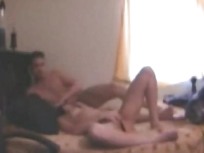 Wild topless chick gets naughty while giving head and fingering her snatch on the bed