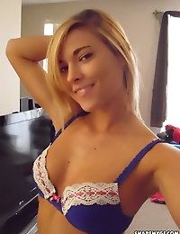 Horny blonde girlfriend takes selfshot mirror pictures as she strips naked