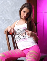 Small chested starlet Liona in rose pink tights and white printed blouse