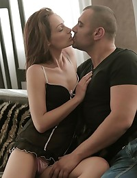Sophie Lynx and Antonio Ross have a very special kind of relationship. When they feel the need for an erotic encounter, he finds her, and she's always waiting with a smile. Watch as Sophie slowly strips out of her silk slip, eager for a chance to wrap her soft lips around Antonio's thick cock. She gives him an enthusiastic blowjob, reveling in the act of bringing her lover pleasure, and then he returns the favor by plunging himself deep inside her, just the way she likes, until her whole body is quaking with undeniable ecstasy.