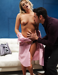 Heather Starlet and Ryan Driller have a first time encounter that ends in hot fucking sex on the couch.