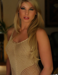 Beautiful blonde Alluring Vixen Brianne shows off in her sexy golden top