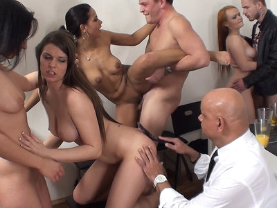 Two horny guys, four slutty chicks and a kinky bald man to watch them and give the bitches some bare-butt spanking as they smoke, suck cocks, eat pussies and fuck right in the kitchen. Thats what we call a modern-style sex party! These college students love getting together for some group fun and bringing in an experienced mature perv as a private sex party instructor made the whole thing even better. Enjoy!