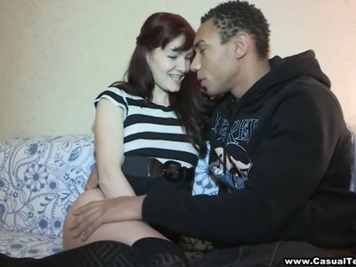 This teen redhead has always been fond of black guys and when some hot ebony athlete from a local college asked her out she didn't hesitate for long. She wanted to fuck and rumors had it this guy was well-endowed even for a black man,so nothing could stop her from hooking up with this lucky dude for some casual interracial fun. Yeah this white chick just couldn't get enough sucking and riding that big dark cock,getting fucked in sexy stockings like a good slut and taking a messy cumshot with pleasure. A must-see!
