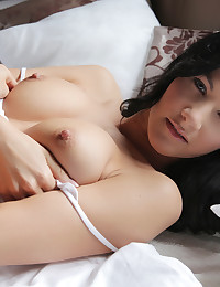 Cute coed Lauren gives her big boobs a long massage and then pleasures her wet fuck hole with her fingers and a toy