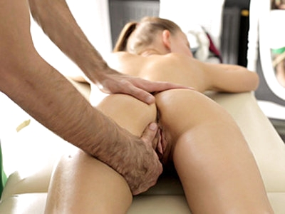 Tall slim attractive blonde girl Nika gets banged by her male therapist on the massage table after getting a relaxing body massage