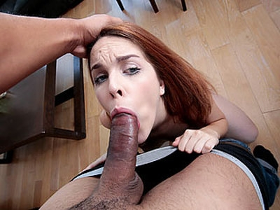 Marvelous sexy Spanish babe Amarna Miller gets a free meal via cum swallowing after she deepthroats and strokes a hard jumbo sized cock like a pro.