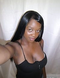 Busty black girlfriend takes selfshot pictures of her big tits in the mirror for her boyfriend