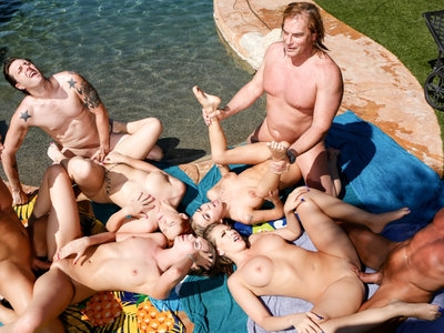 Marcus and Edyn invite friends over for an outdoor orgy.