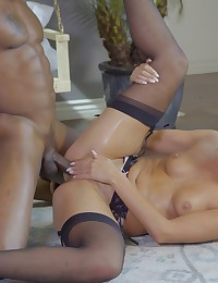 Blonde coed Scarlet Red gives a long lusty blowjob and a horny hardcore stiffie ride in her cock craving bald pussy