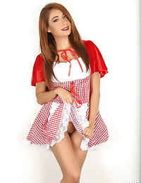 Sexy Alluring Vixen tease Lilly goes commando in her Little Red Riding Hood costume for Halloween