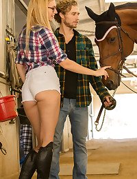 Tall and beautiful Alexa is horsing around at the Unicorn Ranch with Michael. As luck would have it, her friend and fellow fashion model Lena is visiting and joins the party at the stables. With their long legs and hazel eyes, these two girls could go the distance with anyone. Bisexual Alexa is turned on by the possibilities and soon is wearing only her glasses as she helps Lena get naked and begins to kiss and nibble her spectacular tits.