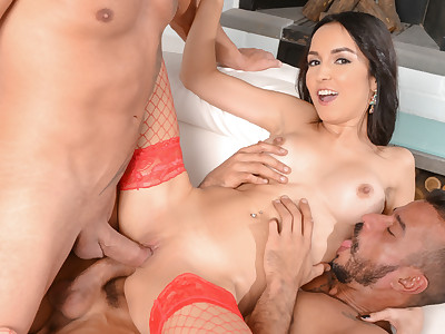 Francys Belle Double Penetration with Sexy Red Lingerie