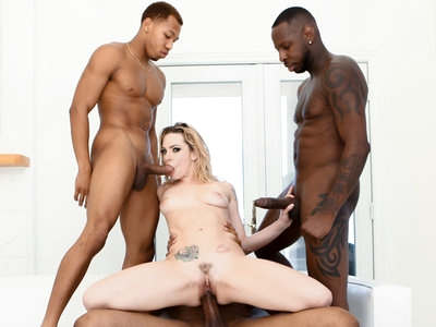 Dahlia Sky fulfills her dream of a all black gangbang on her