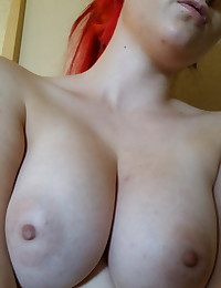 Emo girlfriend shows off her big tits and round ass while she takes selfies for her boyfriend