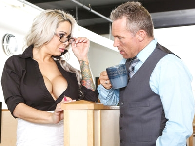 Office skank with massive tits Alyssa Lynn fucked in cubicle