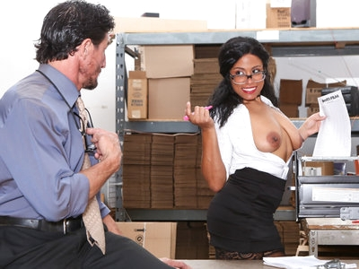 Ebony babe Quinn Quest gets fucked hard by coworker's cock.